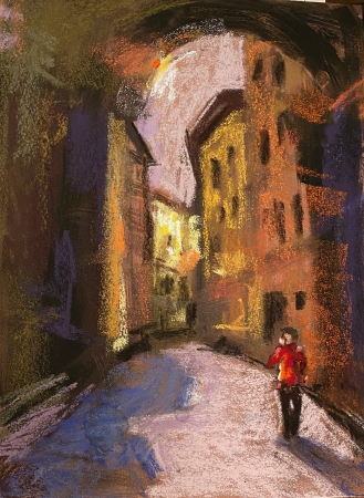 Street in Florence by artist Carolyn Kilday